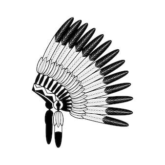 Boné de guerra de penas de índio americano