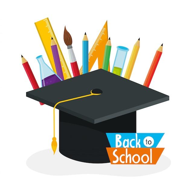Boné de pós-graduação com lápis de cores e pincel