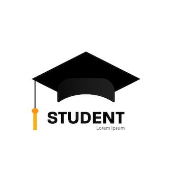 Boné de pós-graduação em estilo simples em fundo branco