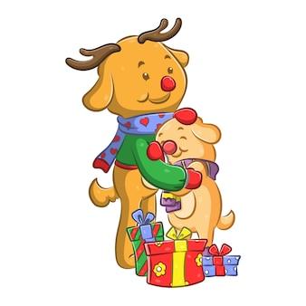 Boneca abraçando o cachorro amarelo ao lado dos presentes de natal