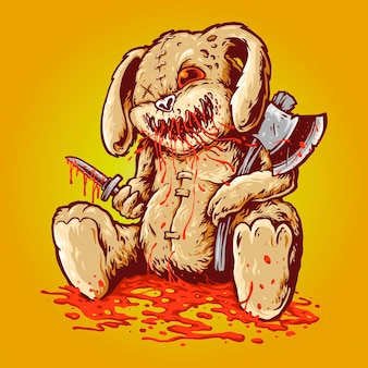 Boneca assustadora e ensanguentada do coelho carregando um amplificador de machado e uma adaga