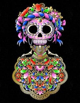 Boneca de caveira mexicana tradicional