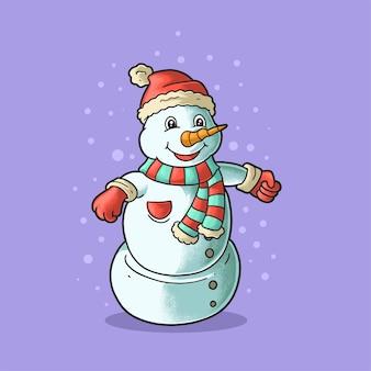Boneca de neve fofa ilustração estilo grunge