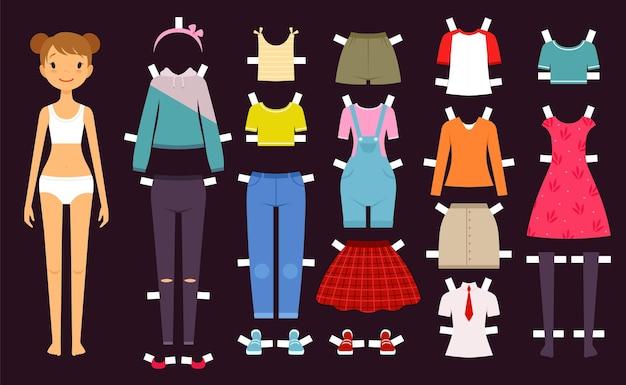Boneca de papel. boneca feminina de brinquedos fofos com várias meninas de moda de roupas de guarda-roupa ilustração vetorial. vista-se de mulher, vista modelo de papel de menina
