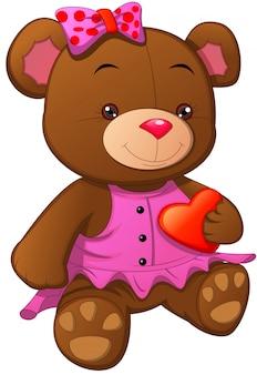 Boneca fofa urso com coração