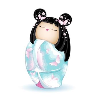 Boneca kokeshi em quimono azul com borboletas