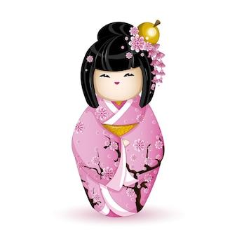 Boneca kokeshi em quimono rosa com sakura.