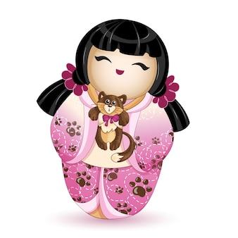 Boneca kokeshi em um quimono rosa com um gatinho.
