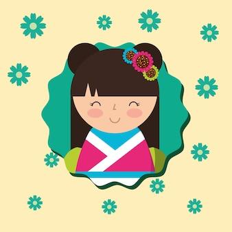 Boneca kokeshi japonesa em fundo de flores de quimono