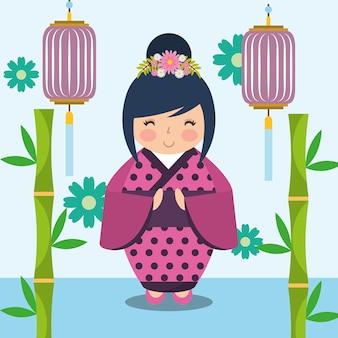 Boneca kokeshi japonesa em quimono