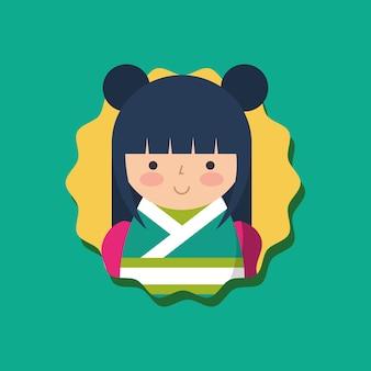 Boneca kokeshi japonesa tradicional em quimono