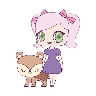 Boneca pequena bonito com animal porco-espinho