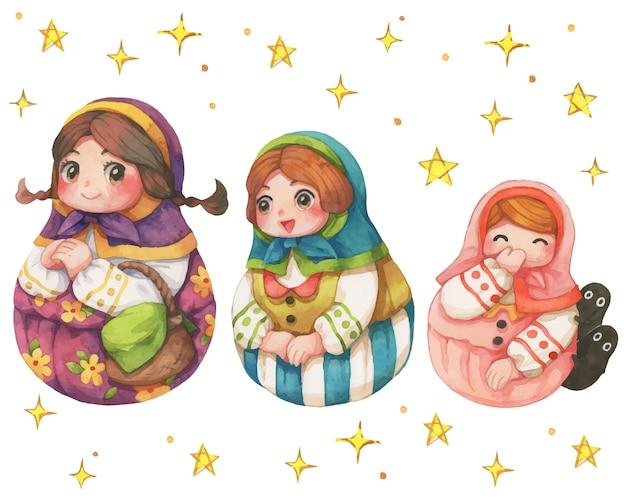 Boneca russa de personagem dos desenhos animados três irmãs