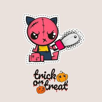 Boneca vodu de gatinho zumbi de pontos de halloween gato malvado costurando gatinho monstro truque ou travessura de abóboras