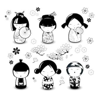 Bonecas kokeshi em estilo preto e branco. ilustração vetorial