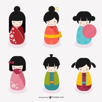 Bonecas kokeshi japonesas