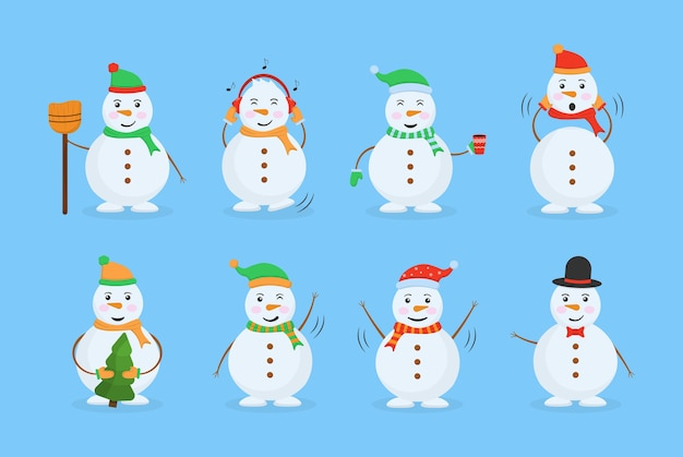 Boneco de neve alegre em trajes diferentes.