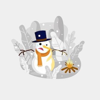 Boneco de neve ao lado de uma ilustração de fogo