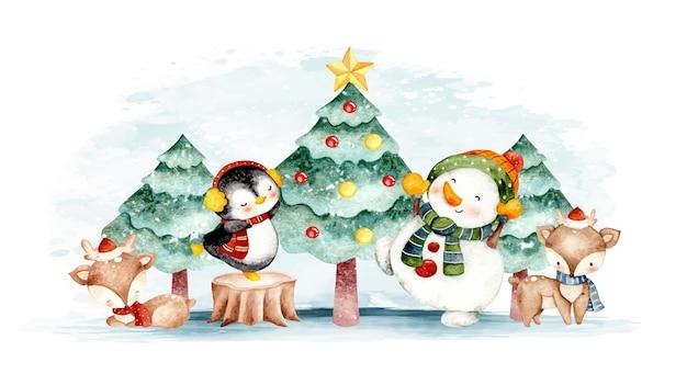 Boneco de neve aquarela veado-pinguin com árvore de natal