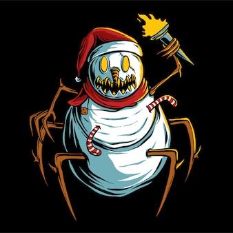 Boneco de neve assustador segurando a ilustração da tocha