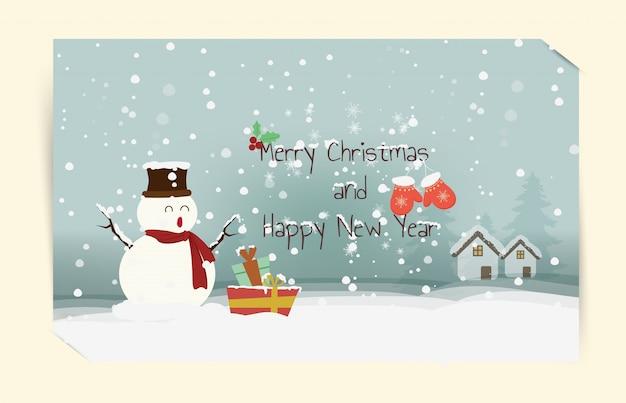 Boneco de neve boas festas desejos mornos mão cartão desenhado feliz natal e feliz ano novo