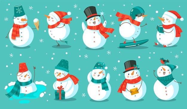 Boneco de neve. bonecos de neve de natal alegres em trajes diferentes com sorvete, livro e presente, carta e snowboard inverno ao ar livre festivo feliz feriado personagens fofinhos, desenho de vetor plana conjunto isolado