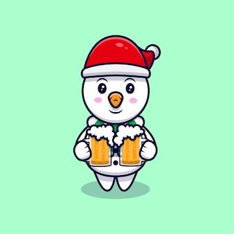 Boneco de neve bonito bebendo cerveja mascote ilustração dos desenhos animados.