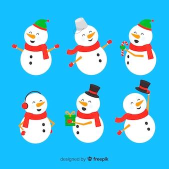 Boneco de neve bonito coleção de natal em design plano