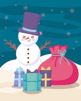 Boneco de neve bonito com caixas de presente na paisagem de inverno