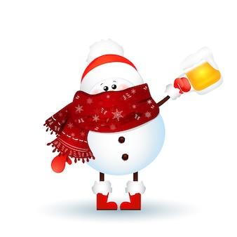 Boneco de neve bonito com lenço, chapéu de papai noel vermelho e segurando uma cerveja isolada no fundo branco. ilustração vetorial