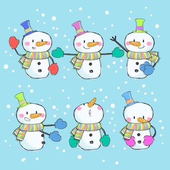 Boneco de neve bonito conjunto de vetores