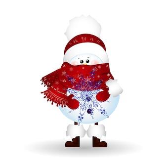 Boneco de neve bonito de natal com cachecol e chapéu de papai noel vermelho, mantendo um floco de neve isolado.
