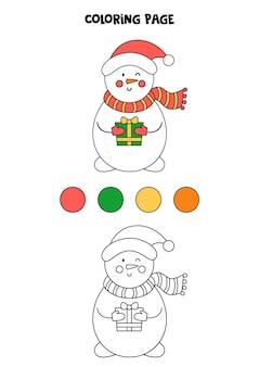 Boneco de neve bonito dos desenhos animados da cor. planilha para crianças.