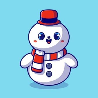 Boneco de neve bonito dos desenhos animados. férias de inverno