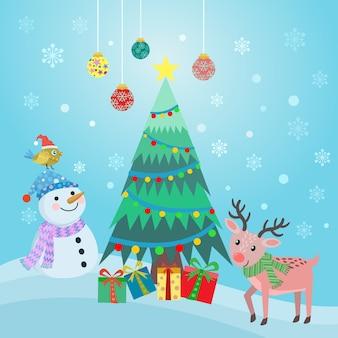 Boneco de neve bonito dos desenhos animados, rena e cartão de natal da árvore.