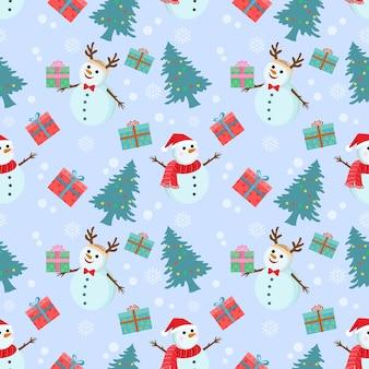 Boneco de neve bonito e árvore de natal sem costura padrão.