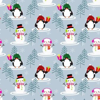 Boneco de neve bonito e pinguins padrão sem emenda.