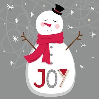 Boneco de neve bonito em fundo prateado e carta de alegria