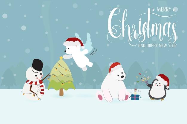 Boneco de neve bonito engraçado do caráter do natal e animais no partido