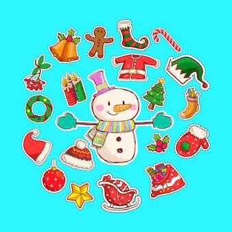Boneco de neve bonito ilustração vetorial