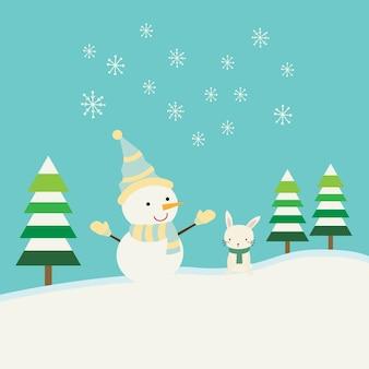 Boneco de neve bonito no inverno
