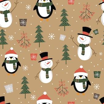 Boneco de neve bonito sem costura e pinguim, padrão de enfeite de natal