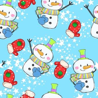 Boneco de neve bonito sem costura padrão