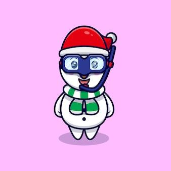 Boneco de neve bonito vestindo uma ilustração dos desenhos animados de mascote de óculos de natação.