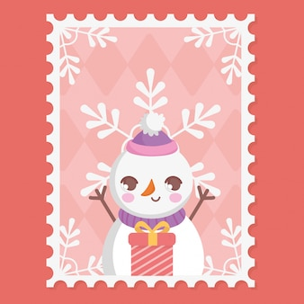 Boneco de neve, caixa de presente e flocos de neve feliz natal carimbo