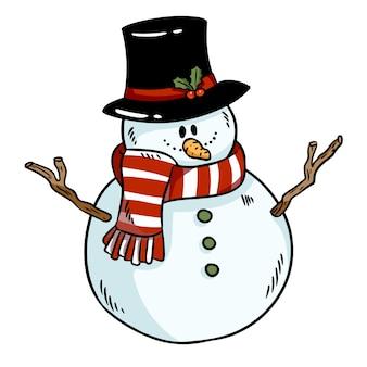 Boneco de neve colorido doodle ícone