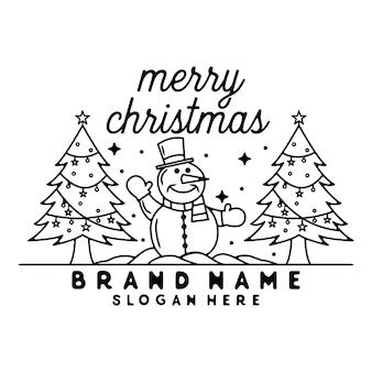 Boneco de neve com árvore de natal monoline vintage outdoor basdge design