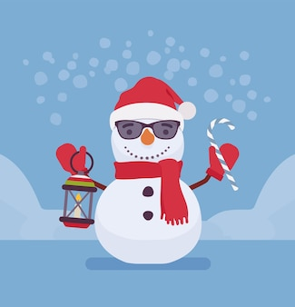 Boneco de neve com cara sorridente