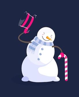 Boneco de neve com cartola de bengala doce isolado no preto