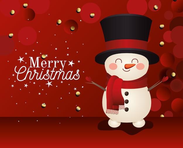 Boneco de neve com cartola e letras de feliz natal em ilustração de fundo vermelho